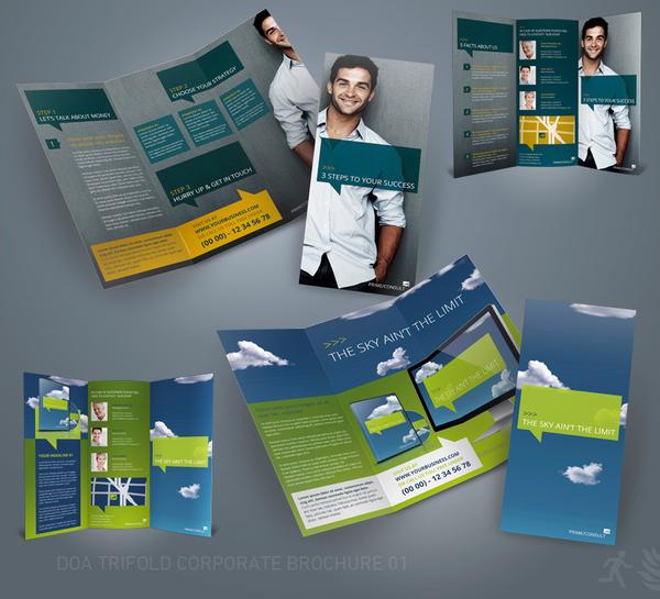 Desain Brosur Bisnis Perusahaan - DOA Trifold Corporate Brochure