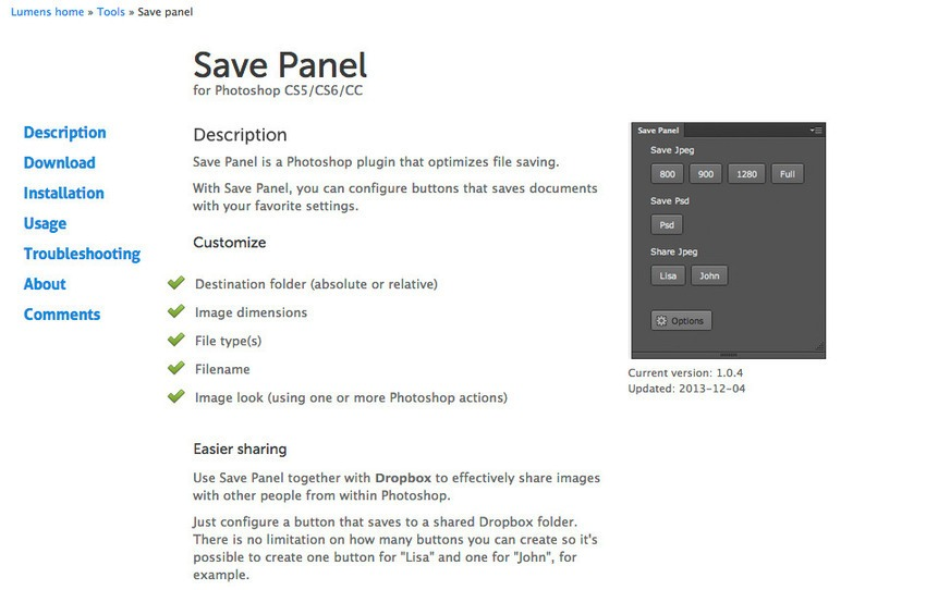 Free Photoshop Plugins-Save Panel