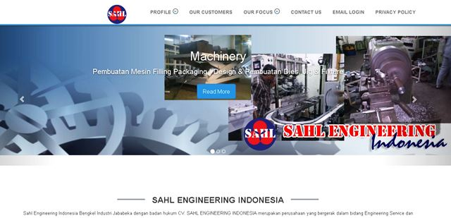 Website Profile Bengkel Mesin Jababeka Sahl Engineering