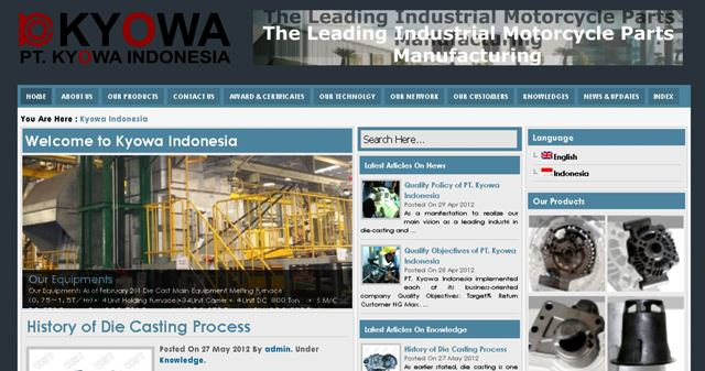 Website Profile Industri Spareparts Otomotif Kyowa