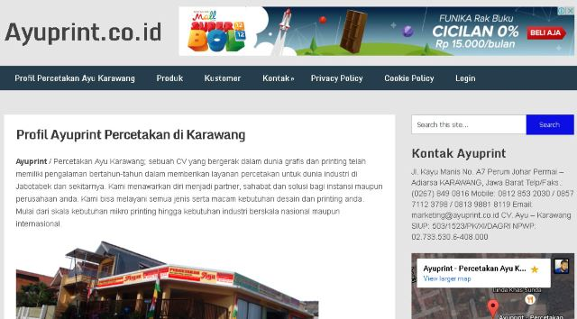 Website Profile Percetakan di Karawang Ayuprint