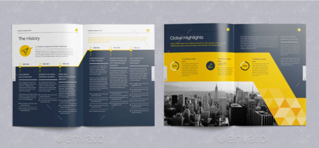 Company Profile Corporate Brochure Tema Warna Kuning Hitam